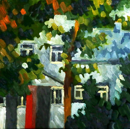 House between trees original painting by Birutė Paplauskaitė. Urbanistic - Cityscape