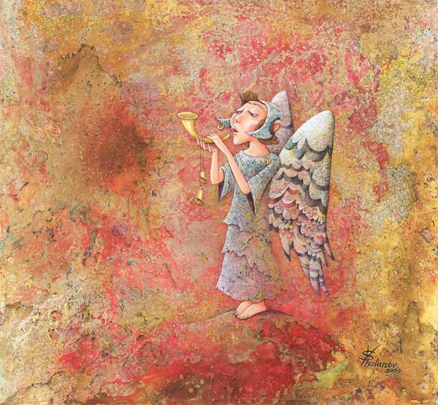 Small angel 2 original painting by Viktoras Šatunovas. Sacral