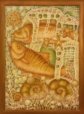 Fish house original painting by Danguolė Jokubaitienė. Animalistic Paintings