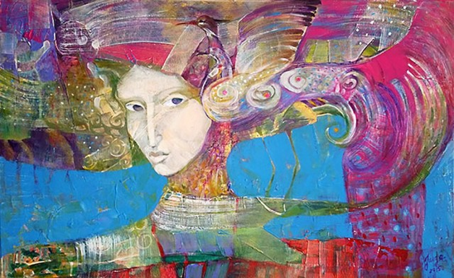 Woman and bird original painting by Jurgita Vaidilaitė. Abstract Paintings