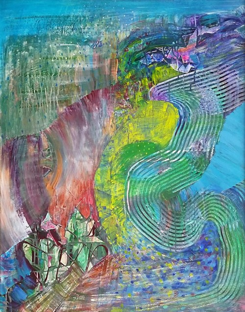 Spring temptation original painting by Jurgita Vaidilaitė. Abstract Paintings