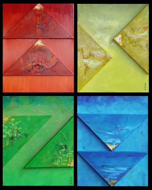Four elements original painting by Konstantinas Žardalevičius. Abstract Paintings