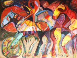 Battle original painting by Dalvytis Udrys. Abstract Paintings