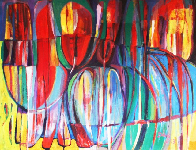 Flowers original painting by Dalvytis Udrys. Abstract Paintings