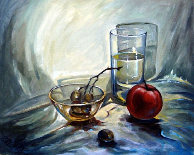 Glass original painting by Aloyzas Pacevičius. Oil painting
