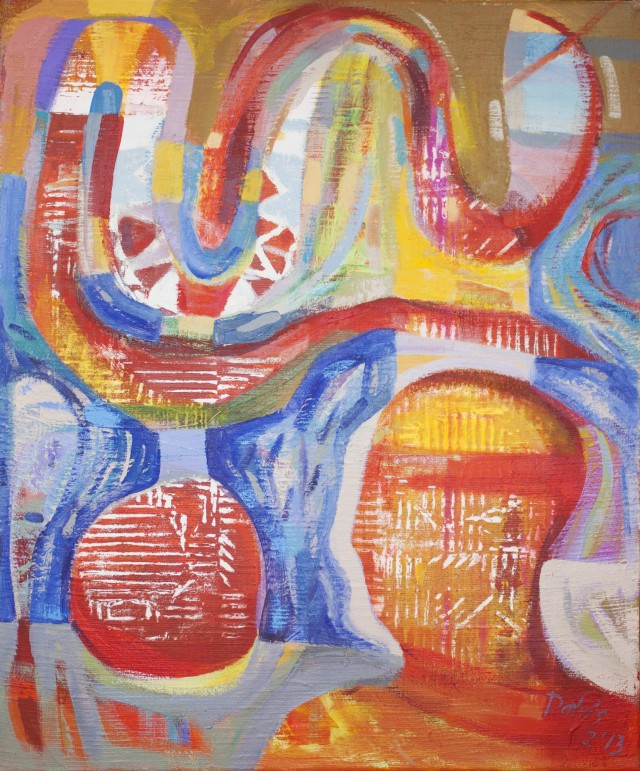 Man and a snake original painting by Dalvytis Udrys. Abstract Paintings