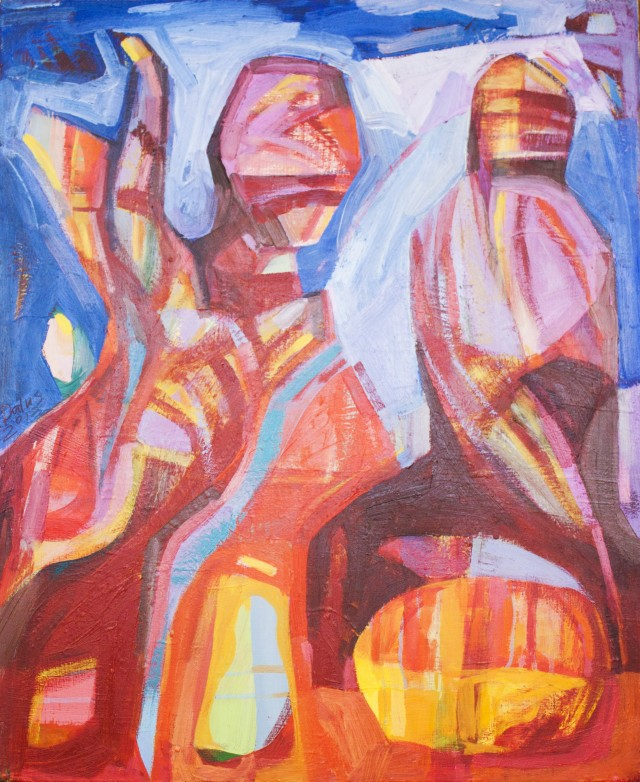 Figures original painting by Dalvytis Udrys. Abstract Paintings