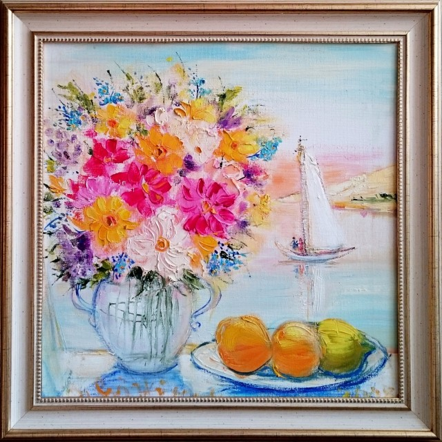 Still life with yacht original painting by Birutė Jočiūnaitė-Cvirkienė . Flowers