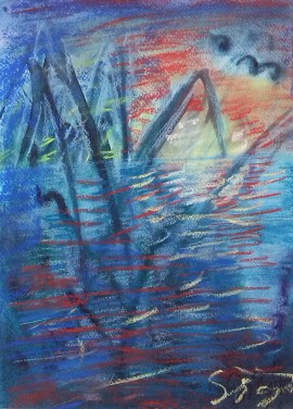 Icy lake original painting by Sigita Dabulskytė. Abstract Paintings