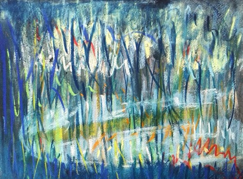 Icy lake through willow branches original painting by Sigita Dabulskytė. Abstract Paintings