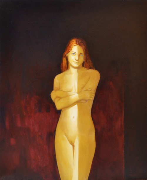 Standing in the light original painting by Artūras Braziūnas. Nude