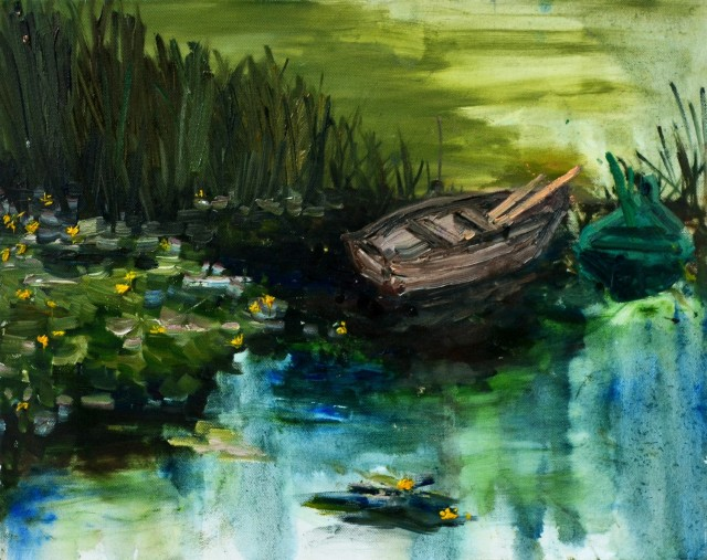 Monet boat original painting by Julija Tumelytė. Landscapes