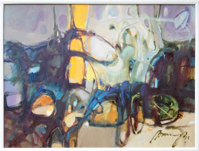 Yellow Line original painting by Ramūnas Dagys. Abstract Paintings