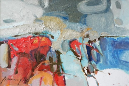 Hot Landscape original painting by Ramūnas Dagys. Abstract Paintings