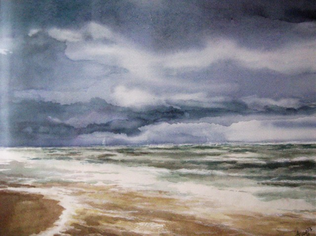 Fog in the Baltic Sea original painting by Algirdas Zibalis. Watercolor painting