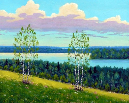 Lithuanian Lakes original painting by Petras Kardokas. Landscapes