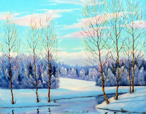 Winter original painting by Petras Kardokas. Landscapes