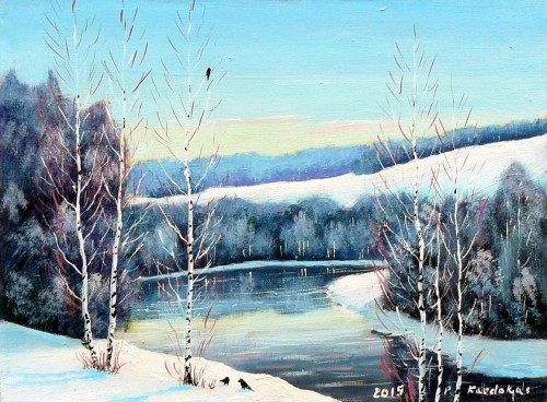 Winter Morning original painting by Petras Kardokas. Landscapes