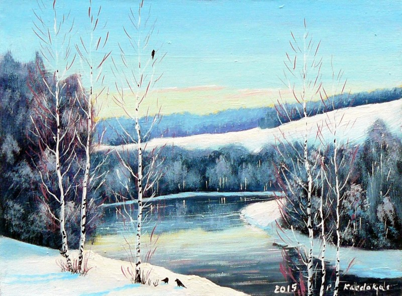 Buy Winter Morning Painting By Petras Kardokas