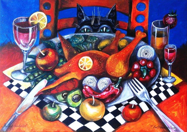 Always Hungry original painting by Inga Balčiūnienė. Fantastic