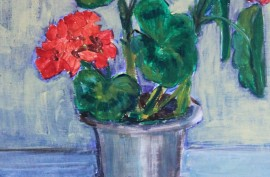 Pelargonium original painting by Dalia Motiejūnienė. Still-Life