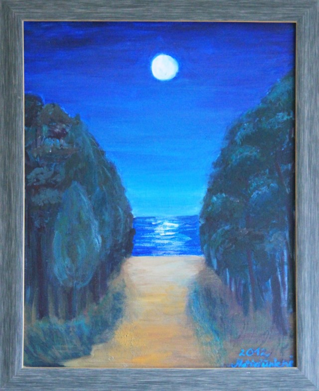 Moonlight original painting by Dalia Motiejūnienė. Landscapes