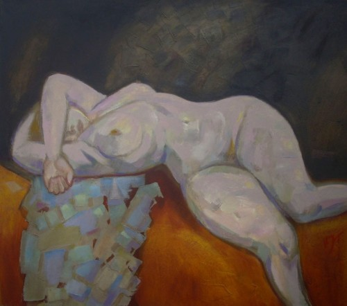 Sleeping original painting by Vidmantas Jažauskas. Nude