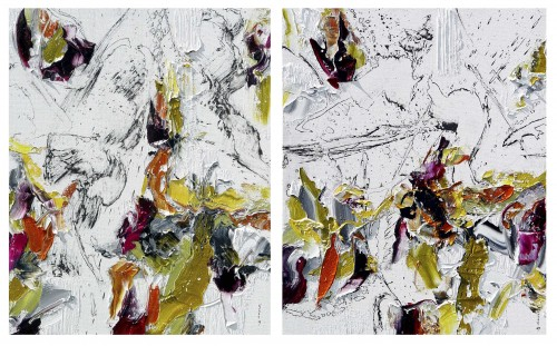 Eventuality (diptych) original painting by Konstantinas Žardalevičius. Abstract Paintings