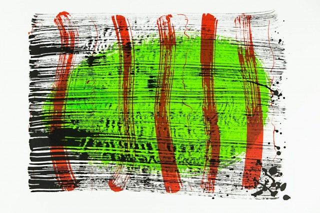 Green Lawn original painting by Valentinas Ajauskas. Abstract Paintings
