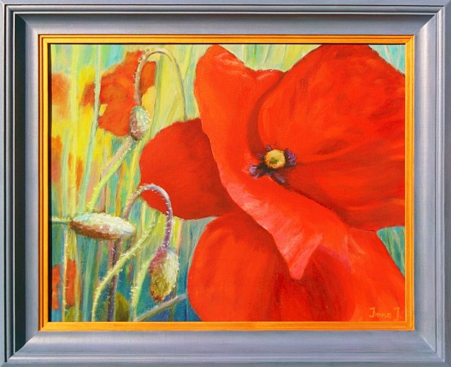 Poppy original painting by Irena Jasiūnienė. Flowers