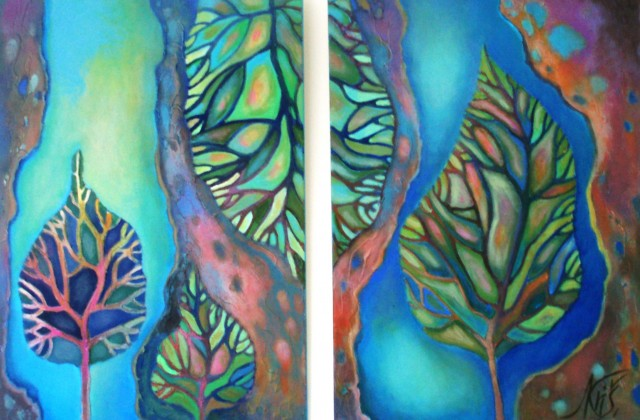 Small leaves. Diptych original painting by Natalija Kriščiūnienė. Fantastic