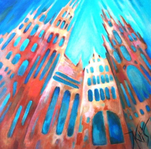Foxy Towers original painting by Natalija Kriščiūnienė. Fantastic