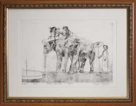 Grey Elephants original painting by Eugenijus Lugovojus.