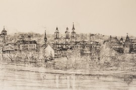 Panorama of Kaunas Oldtown from Neris Side original painting by Eugenijus Lugovojus. Landscapes