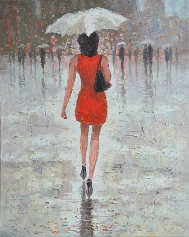 Raining 2 original painting by Rimantas Virbickas. Paintings With People