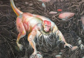 Year of Red Monkey original painting by Antanas Adomaitis. Fantastic