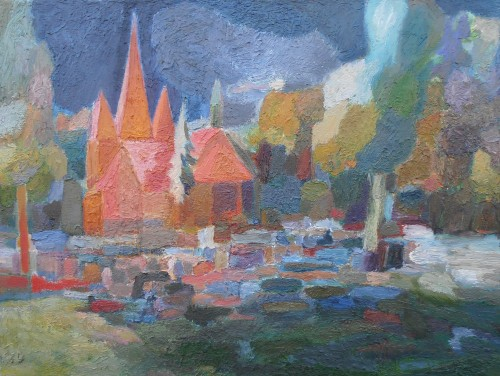 Church of Alleys and Cemetery original painting by Darius Rakauskas. Fantastic