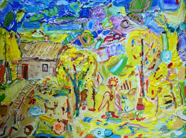 Spring near the Seaside original painting by Arvydas Martinaitis. Abstract Paintings