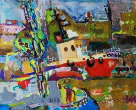 Port of Small Boats original painting by Antanas Virginijus-Krištopaitis. Abstract Paintings