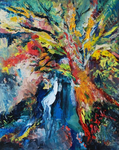 Oak of Kartena Town original painting by Antanas Virginijus-Krištopaitis. Abstract Paintings