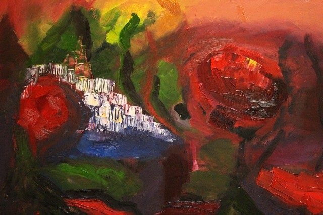Red Blossoms Flowered original painting by Kristina Čivilytė. Abstract Paintings
