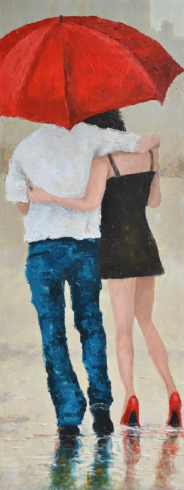 Couple original painting by Rimantas Virbickas. Paintings With People