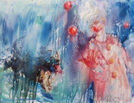 Juggler in the Rain original painting by Vilma Vasiliauskaitė. Animalistic Paintings