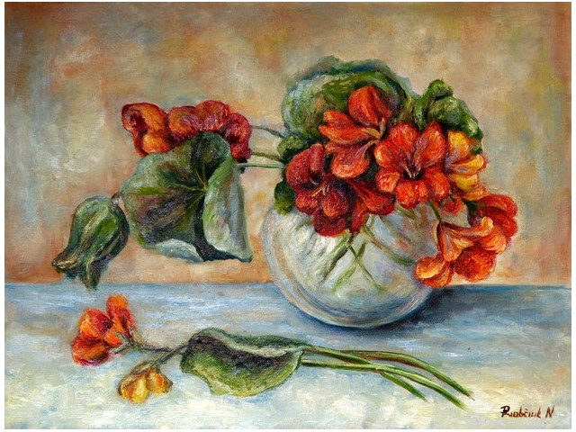 Summer Posy original painting by Natalija Riabčuk. Oil painting