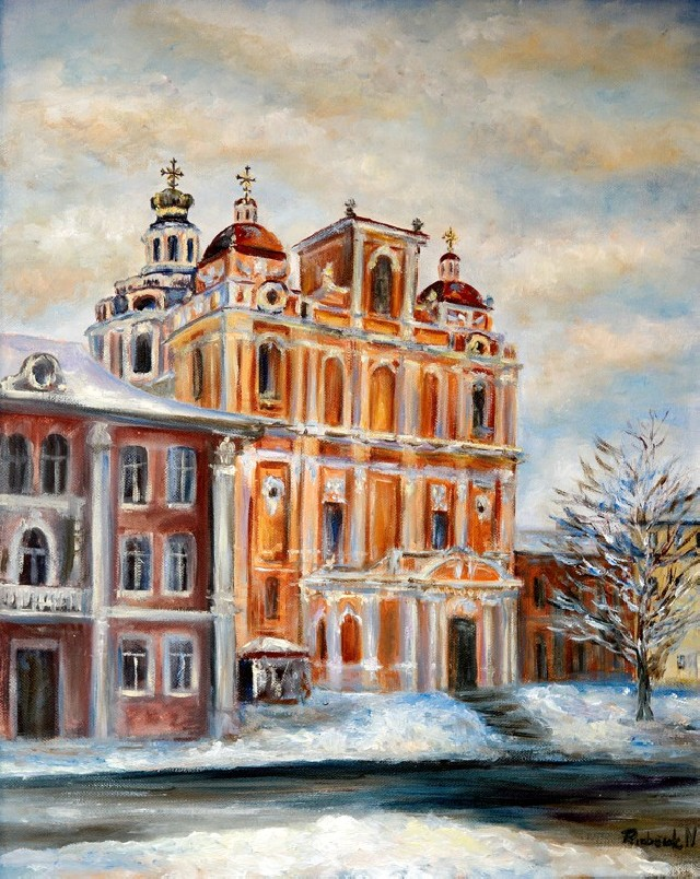 Blessed Kazimieras Church original painting by Natalija Riabčuk. Oil painting