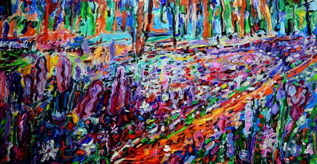 Summer in the Forest original painting by Arvydas Martinaitis. Abstract Paintings