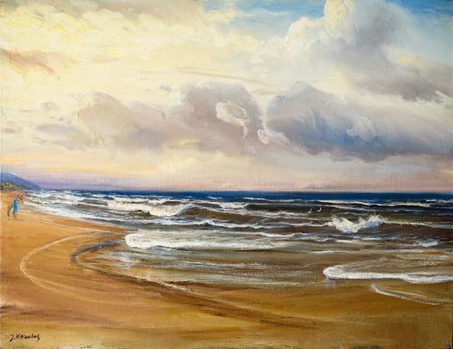 Baltic Coast original painting by Jonas Kozulas. Marine Art