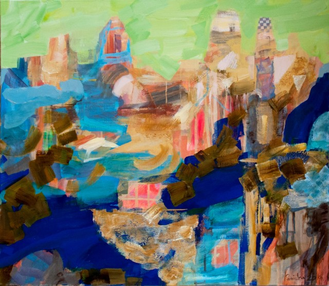 Traveling City original painting by Skaidra Savickas. Abstract Paintings