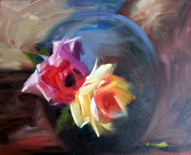 Side by Side original painting by Rita Medvedevienė. Flowers