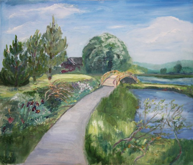 Ponds original painting by Dalia Motiejūnienė. Landscapes